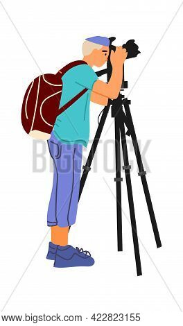 Photographer With Professional Camera. Cartoon Man Shooting Photographs. Young Male Taking Pictures.