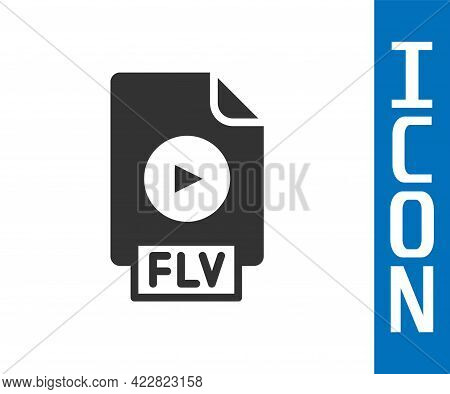 Grey Flv File Document Video File Format. Download Flv Button Icon Isolated On White Background. Flv