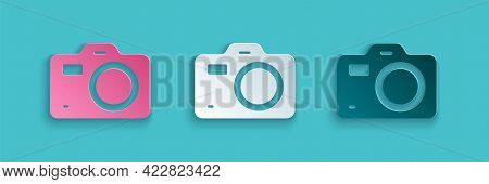 Paper Cut Photo Camera Icon Isolated On Blue Background. Foto Camera. Digital Photography. Paper Art