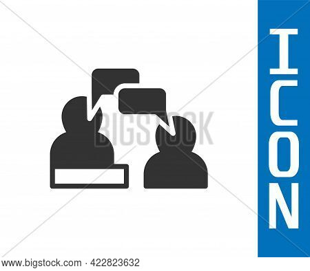 Grey Two Sitting Men Talking Icon Isolated On White Background. Speech Bubble Chat. Message Icon. Co