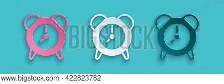 Paper Cut Alarm Clock Icon Isolated On Blue Background. Wake Up, Get Up Concept. Time Sign. Paper Ar