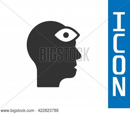 Grey Man With Third Eye Icon Isolated On White Background. The Concept Of Meditation, Vision Of Ener