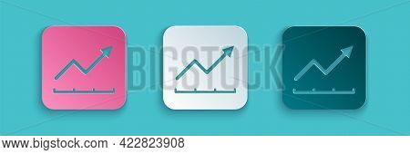 Paper Cut Financial Growth Increase Icon Isolated On Blue Background. Increasing Revenue. Paper Art