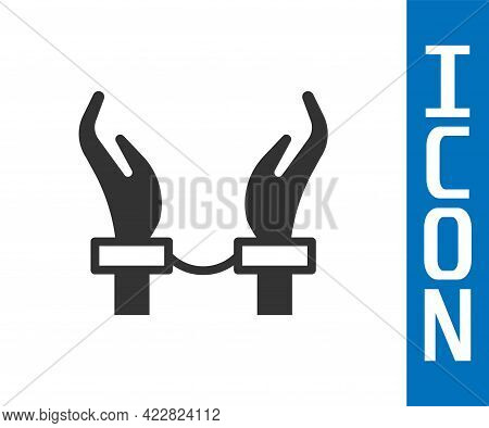 Grey Handcuffs On Hands Of Criminal Man Icon Isolated On White Background. Arrested Man In Handcuffs