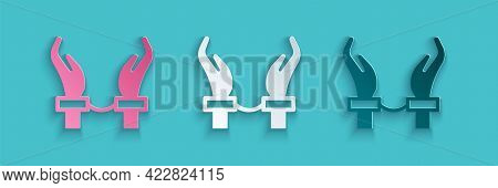 Paper Cut Handcuffs On Hands Of Criminal Man Icon Isolated On Blue Background. Arrested Man In Handc