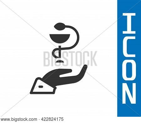 Grey Caduceus Snake Medical Symbol Icon Isolated On White Background. Medicine And Health Care. Embl