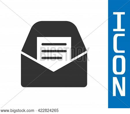 Grey Mail And E-mail Icon Isolated On White Background. Envelope Symbol E-mail. Email Message Sign.