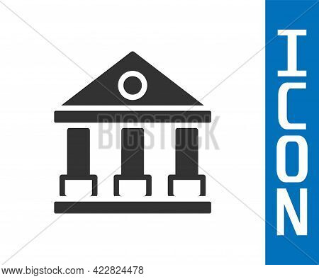 Grey Courthouse Building Icon Isolated On White Background. Building Bank Or Museum. Vector