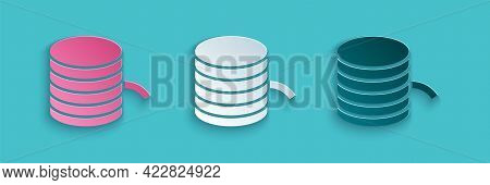 Paper Cut Plastic Filament For 3d Printing Icon Isolated On Blue Background. Paper Art Style. Vector