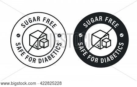 'sugar Free, Safe For Diabetics ' Vector Icon Set, Diabetic Friendly Abstract