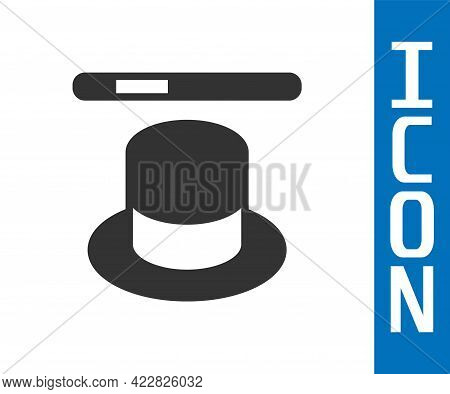 Grey Magic Hat And Wand Icon Isolated On White Background. Magic Trick. Mystery Entertainment Concep