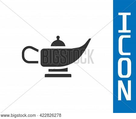 Grey Magic Lamp Or Aladdin Lamp Icon Isolated On White Background. Spiritual Lamp For Wish. Vector