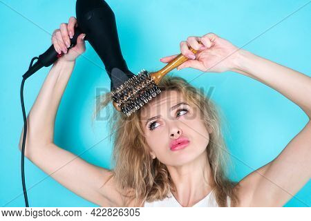 Girl With Blonde Hair Using Hairdryer. Hairstyle, Hairdressing Concept. Health Hair And Beauty Conce