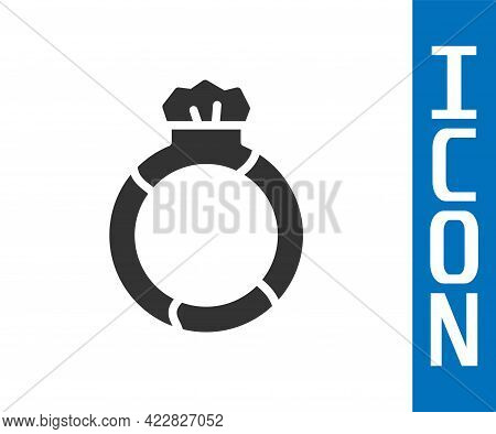 Grey Fantasy Magic Stone Ring With Gem Icon Isolated On White Background. Vector