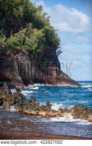Waves On A Rocky Beach. Tropical Paradise Deep Turquoise Rocky Seascape.