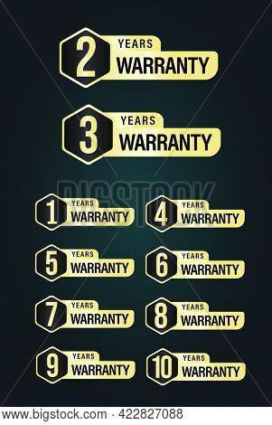 'warranty' Golden Elegant Vector Icon Isolated On Dark Background