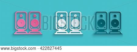 Paper Cut Stereo Speaker Icon Isolated On Blue Background. Sound System Speakers. Music Icon. Musica
