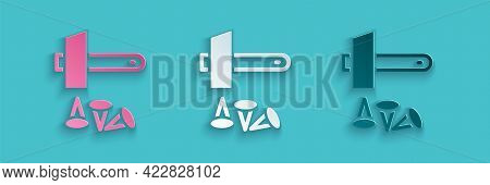 Paper Cut Crucifixion Of Jesus Christ Icon Isolated On Blue Background. Hammer And Old Nails. Good F