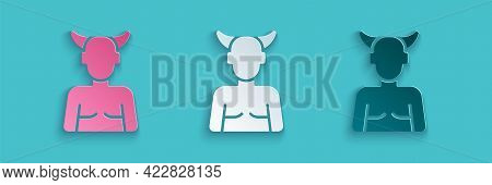 Paper Cut Krampus, Heck Icon Isolated On Blue Background. Horned Devil. Traditional Christmas Devil.