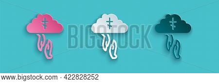 Paper Cut Gods Helping Hand Icon Isolated On Blue Background. Religion, Bible, Christianity Concept.