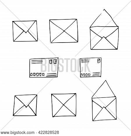 Hand-drawn Mail, Post, Letter, Envelope. Doodle Elements. Mail And Post Icon In Sketch Style