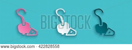 Paper Cut Magic Staff Icon Isolated On Blue Background. Magic Wand, Scepter, Stick, Rod. Paper Art S