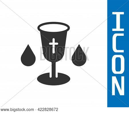 Grey Christian Chalice Icon Isolated On White Background. Christianity Icon. Happy Easter. Vector