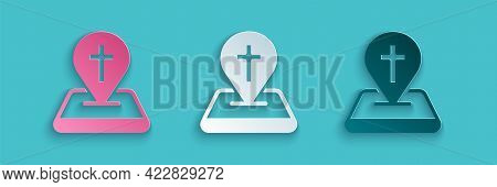 Paper Cut Map Pin Church Building Icon Isolated On Blue Background. Christian Church. Religion Of Ch