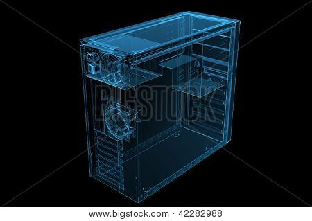 ATX MID TOWER CASE 3D xray blue transparent poster