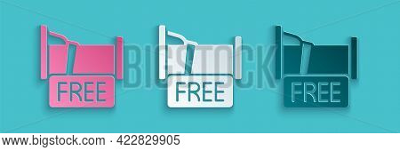 Paper Cut Free Overnight Stay House Icon Isolated On Blue Background. Paper Art Style. Vector