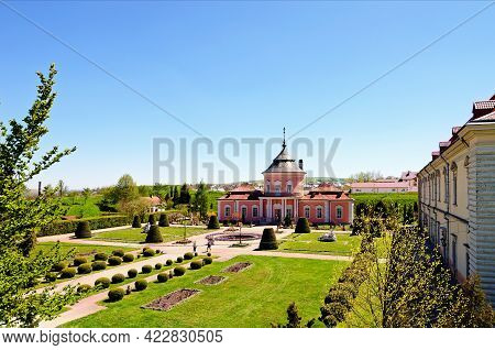 Zolochiv, Ukraine-may 11,2021:aerial Landscape View Of Ancient Zolochiv Castle In Sunny Spring Day.