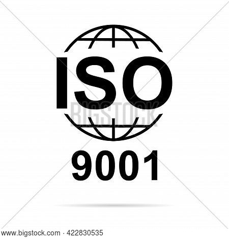 Iso 9001 Icon. Standard Quality Symbol. Vector Button Sign Isolated On White Background .