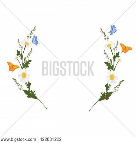 Daisy Wreath Vector Stock Illustration. A Vignette Of Meadow Flowers. Spring Template For An Invitat