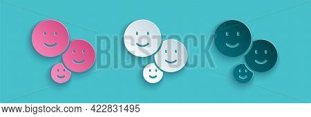 Paper Cut Happy Friendship Day Icon Isolated On Blue Background. Everlasting Friendship Concept. Pap