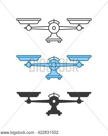 Set Of Different Weight Scale Icon. Concept Of Food And Meal Weighing Or Equilibrium And Balance In