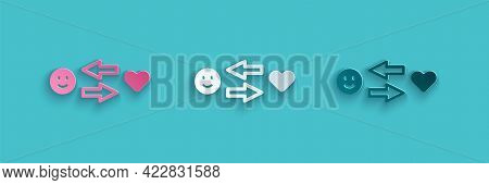 Paper Cut Romantic Relationship Icon Isolated On Blue Background. Romantic Relationship Or Pleasant
