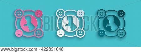 Paper Cut International Community Icon Isolated On Blue Background. Worldwide Community. Cross Cultu