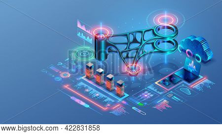 Engineering Technology Concept. Cad System. Generative Design Of 3d Model, 3d Printing Of Metal Part