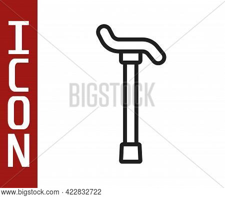 Black Line Walking Stick Cane Icon Isolated On White Background. Vector
