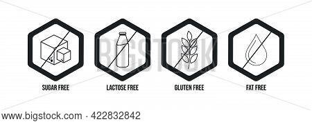Gluten Free Icon, Fat Free Icon, Lactose Free Icon, Sugar Free Icon, Black Color Vector Illustration