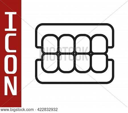 Black Line False Jaw Icon Isolated On White Background. Dental Jaw Or Dentures, False Teeth With Inc