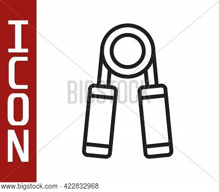 Black Line Sport Expander Icon Isolated On White Background. Sport Equipment. Vector