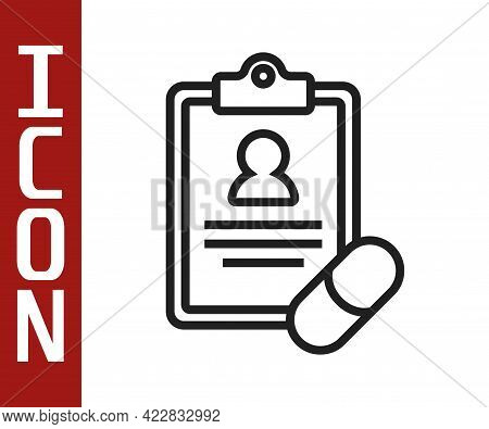 Black Line Medical Prescription Icon Isolated On White Background. Rx Form. Recipe Medical. Pharmacy