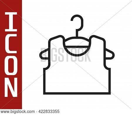 Black Line Sleeveless T-shirt Icon Isolated On White Background. Vector