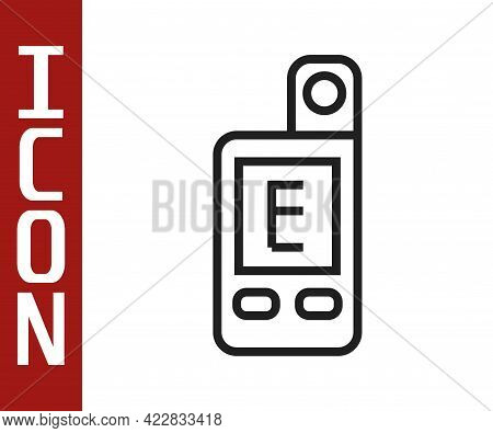 Black Line Light Meter Icon Isolated On White Background. Hand Luxmeter. Exposure Meter - A Device F