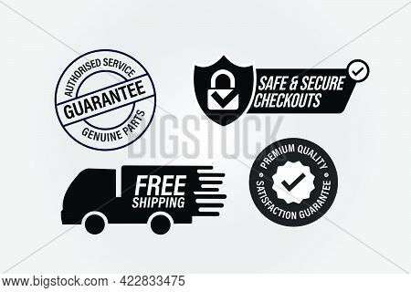 Vector Ecommerce Icons Such As Authorized Service-genuine Parts Guaranteed, Safe And Secure Checkout