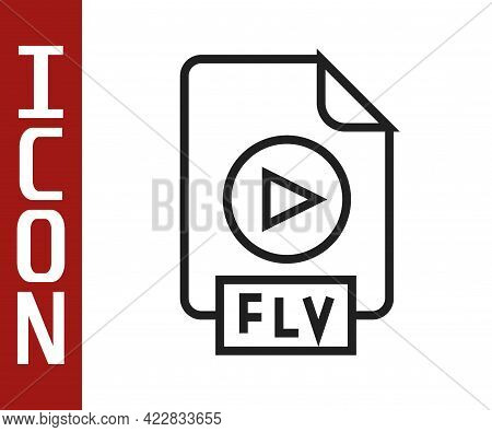 Black Line Flv File Document Video File Format. Download Flv Button Icon Isolated On White Backgroun