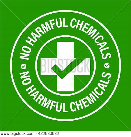 No Harmful Chemicals Added Vector Icon With Cross And Tick Mark, White In Color