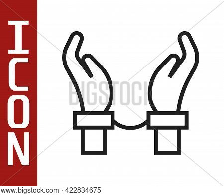 Black Line Handcuffs On Hands Of Criminal Man Icon Isolated On White Background. Arrested Man In Han