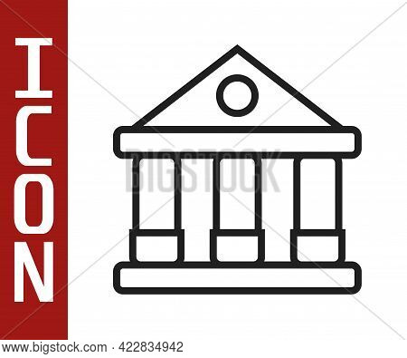 Black Line Courthouse Building Icon Isolated On White Background. Building Bank Or Museum. Vector
